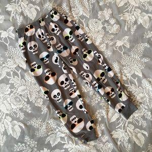Unisex Skull Gray Sunglasses Fleece PJ Pants